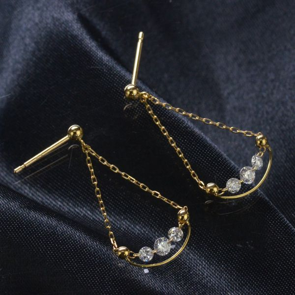 K18 レーザーホールダイヤモンド計0.30ct ピアス/送料無料