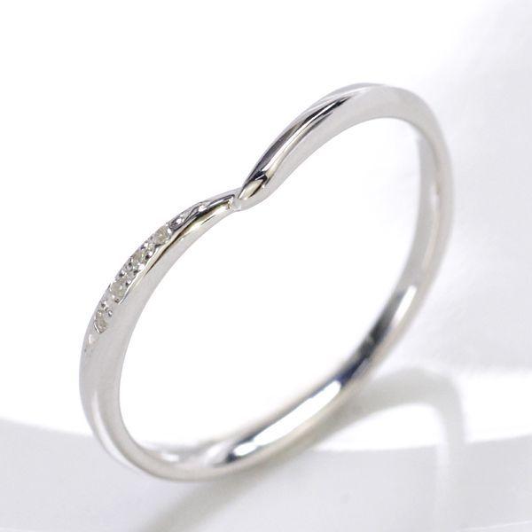 K10WG ダイヤモンド0.02ct Vライン ペアリング レディース/送料無料