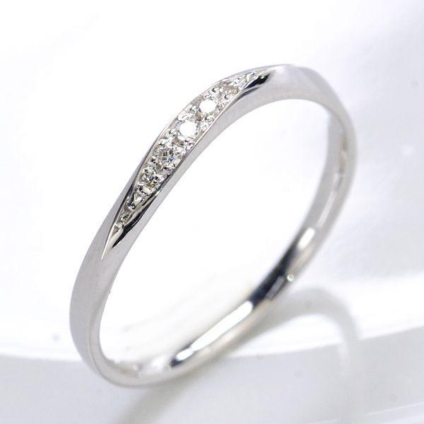 K10WG ダイヤモンド0.03ct Sライン ペアリング レディース/送料無料