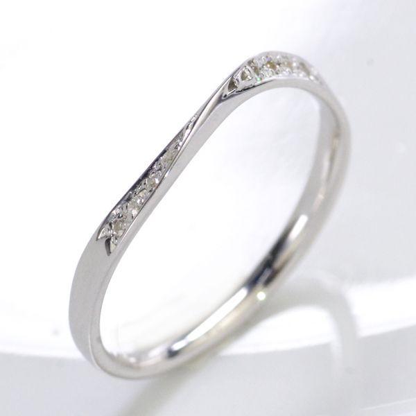 K10WG ダイヤモンド0.04ct Sライン ペアリング レディース/送料無料
