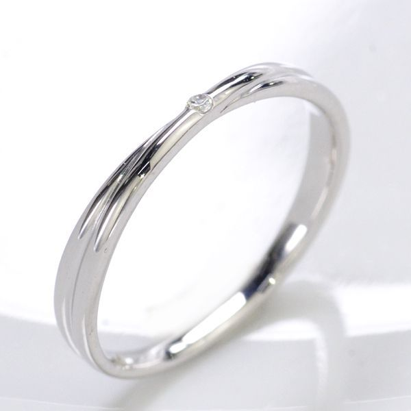 K10WG ダイヤモンド0.006ct Xライン ペアリング レディース/送料無料