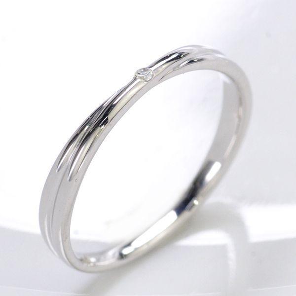 K18WG ダイヤモンド0.006ct Xライン ペアリング レディース/送料無料