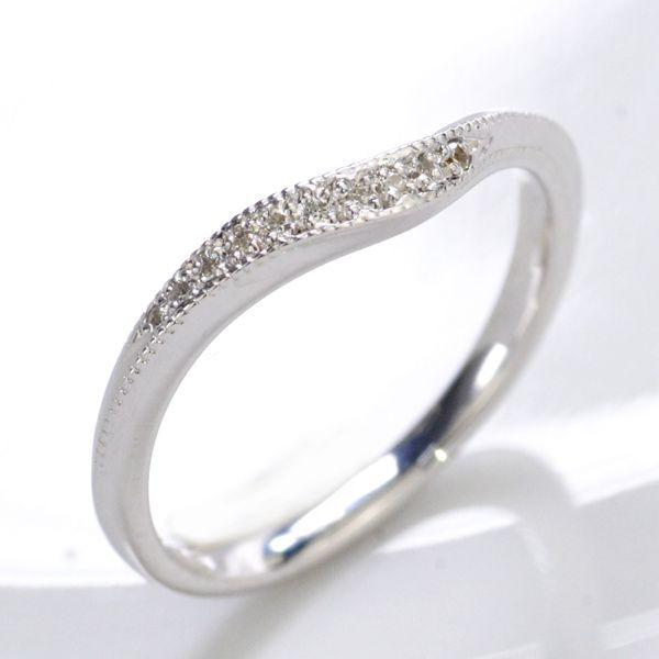 K10WG ダイヤモンド0.05ct Vライン ペアリング レディース/送料無料