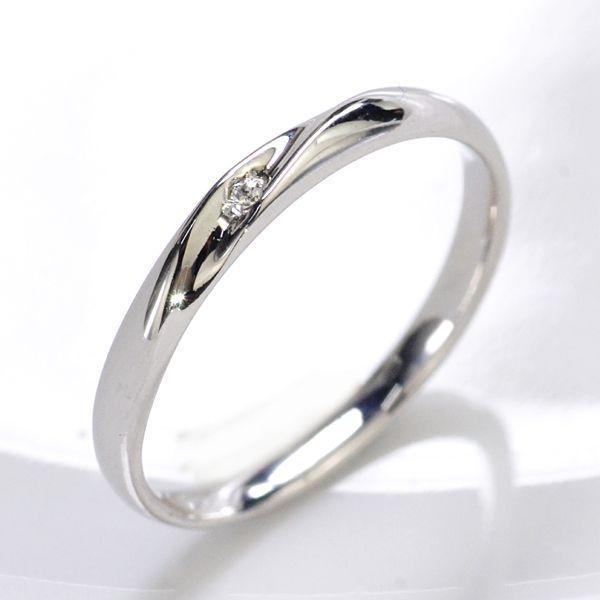 K18WG ダイヤモンド0.01ct Iライン ペアリング レディース/送料無料