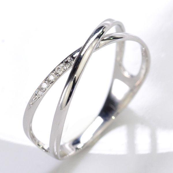 K10WG ダイヤモンド0.02ct Xライン ペアリング レディース/送料無料