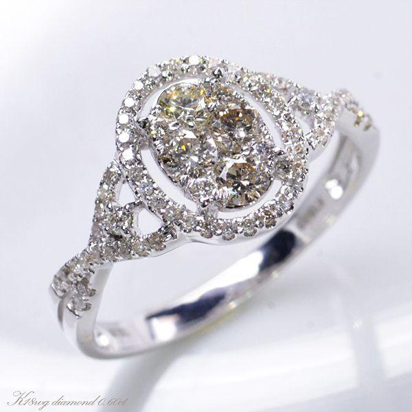 K18WG ダイヤモンド0.60ct カリーナセッティング リング/送料無料
