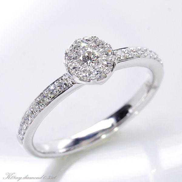 K18WG ダイヤモンド0.35ct 極小爪セッティング リング/送料無料