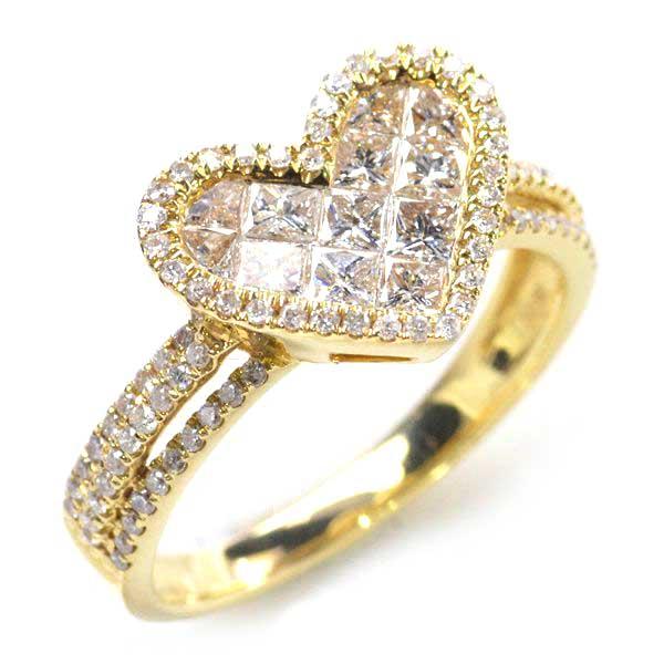 K18 ダイヤモンド0.90ct インビジブルセッティング ハートリング/送料無料
