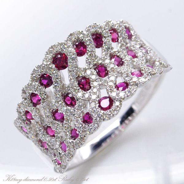 K18WG ダイヤモンド0.50ct ルビー0.75ct リング/送料無料