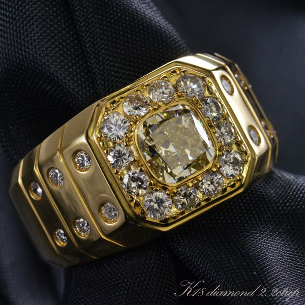 K18 ダイヤモンド メンズリング 18号 現品限り/送料無料