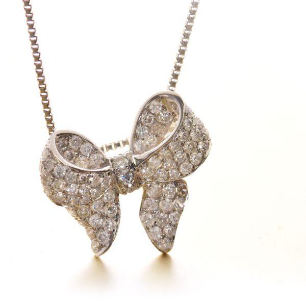 K18WG ダイヤモンド リボン ネックレス/送料無料