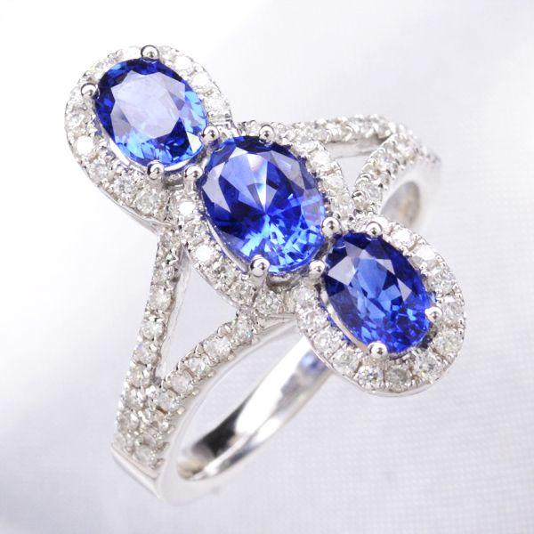 K18WG ダイヤモンド サファイア リング 指輪/送料無料