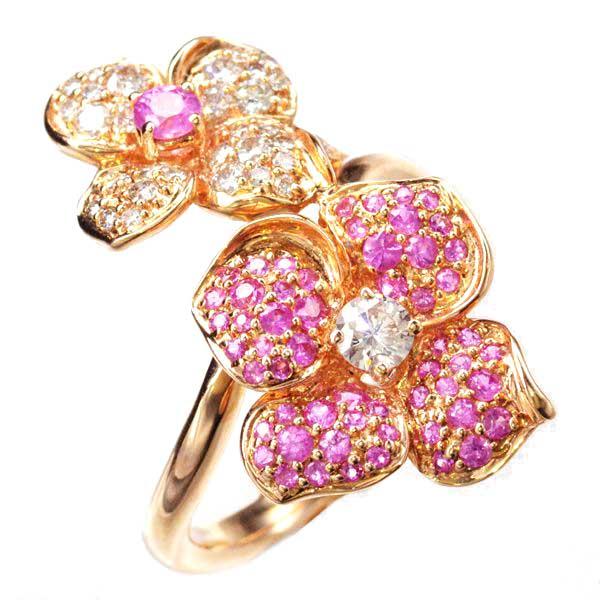K18PG ピンクサファイア ダイヤモンド リング 指輪/送料無料