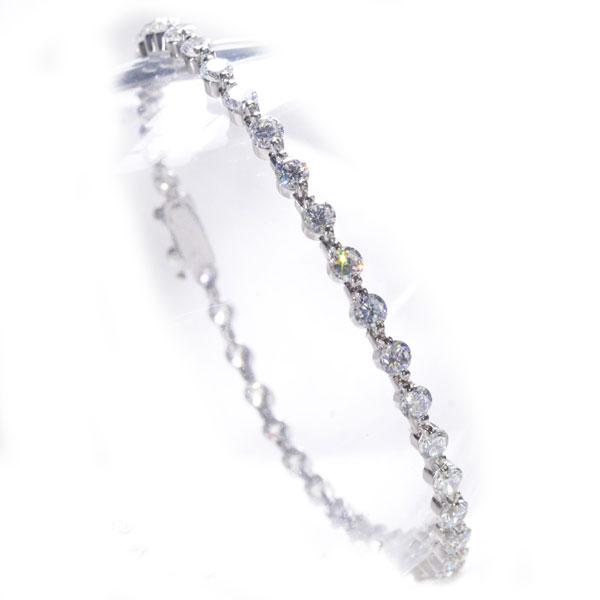 Pt850 ダイヤモンド テニスブレスレット 5ct 2本爪/送料無料