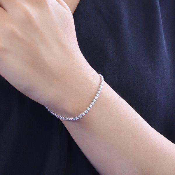 Pt850 ダイヤモンド テニスブレスレット 3ct 4本爪/