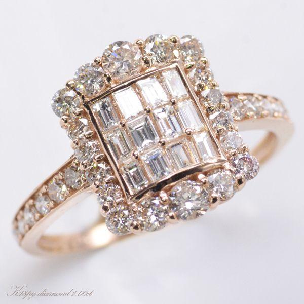 K18PG ダイヤモンド1.00カラット リング 指輪/送料無料