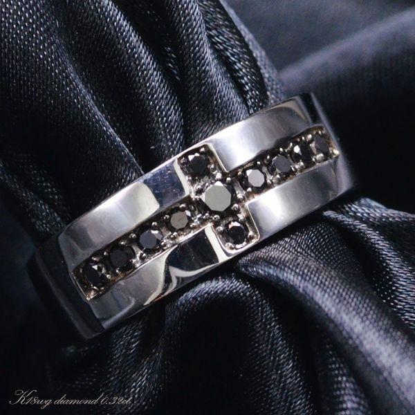 K18WG ブラックダイヤモンド メンズ リング/送料無料