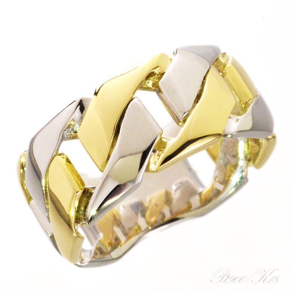 喜平 コンビ リング Pt900 K18 18金 指輪 プラチナ イエローゴールド メンズ 10g