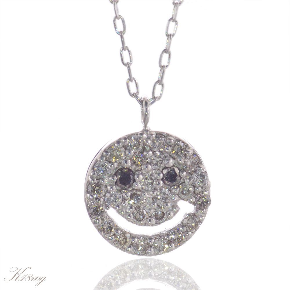 K18WG スマイル パヴェ ダイヤモンド ネックレス/送料無料