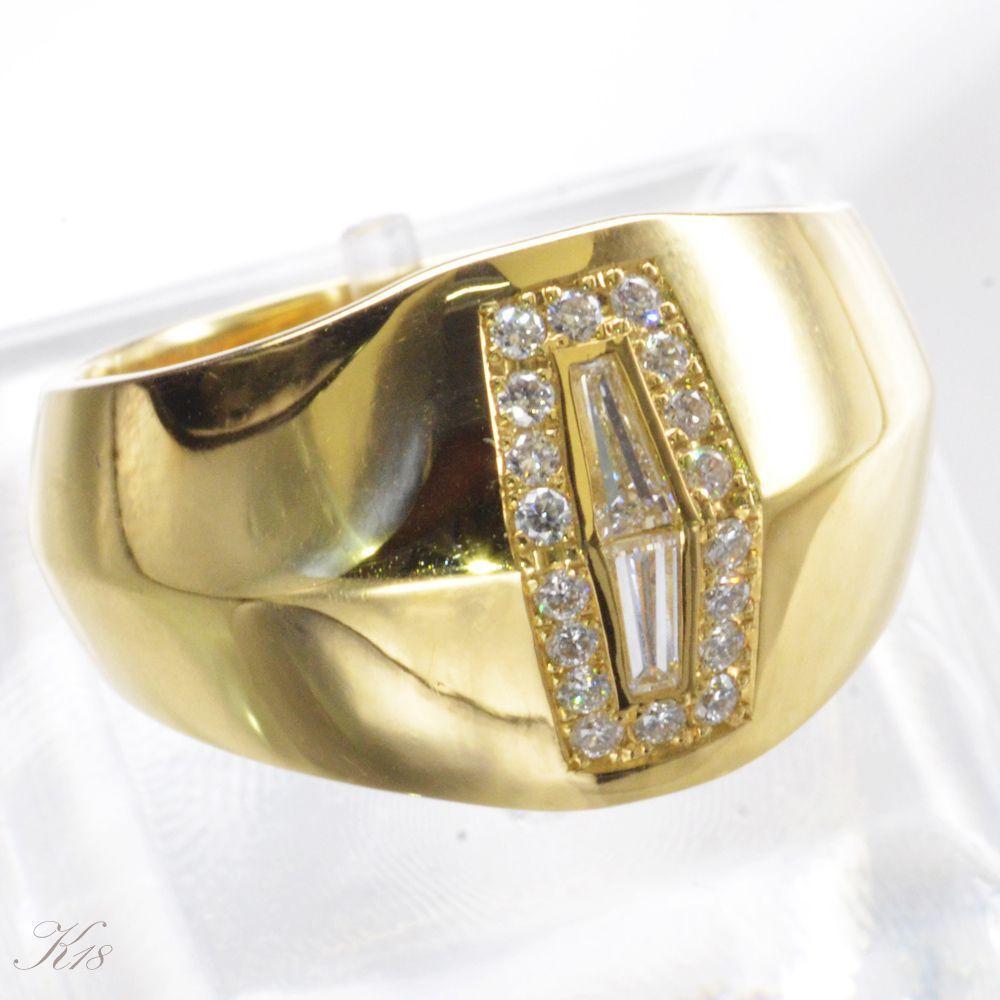 K18 ダイヤモンド メンズ リング 指輪/送料無料