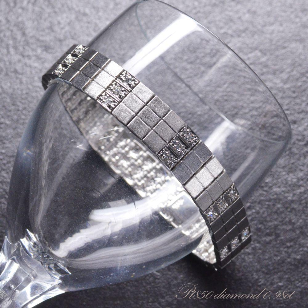 ブレスレット メンズ プラチナ ダイヤモンド Pt850 58g 日本製 長さ指定可能