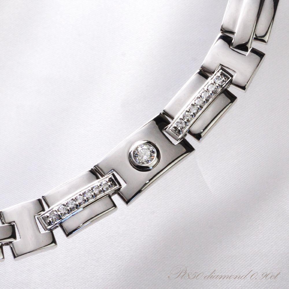 ブレスレット メンズ プラチナ ダイヤモンド Pt850 61g 日本製
