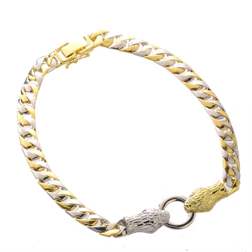 喜平 ブレスレット コンビ ダイヤモンド K18 プラチナ イエローゴールド 18金 Pt850 メンズ スネーク 蛇 日本製
