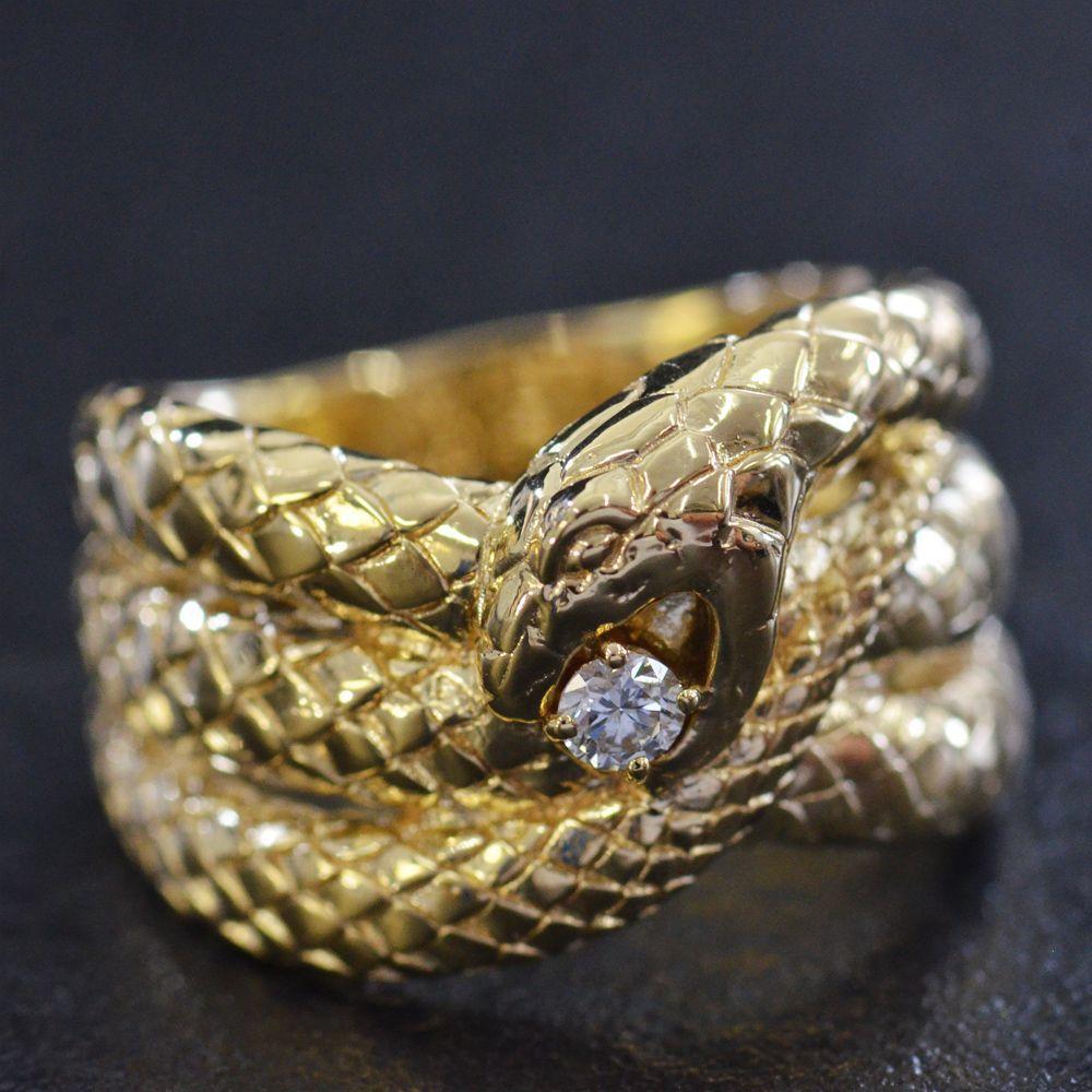 K18 ダイヤモンド メンズ リング 蛇/