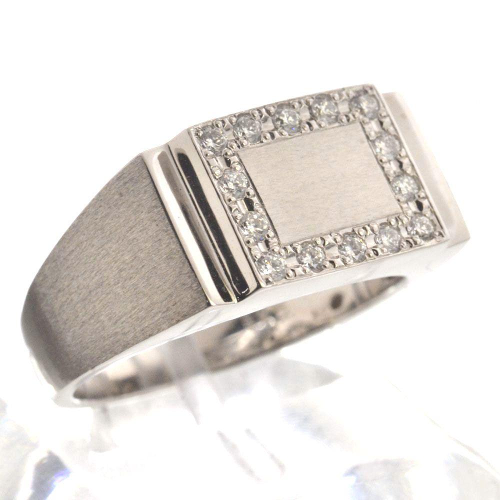 印台 メンズリング プラチナ ダイヤモンド 指輪 Pt900 男性用 日本製