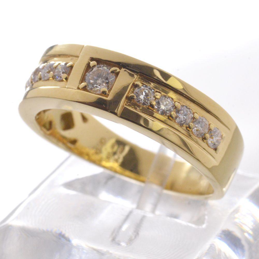 メンズリング 18金 ダイヤモンド 指輪 K18 男性用 日本製