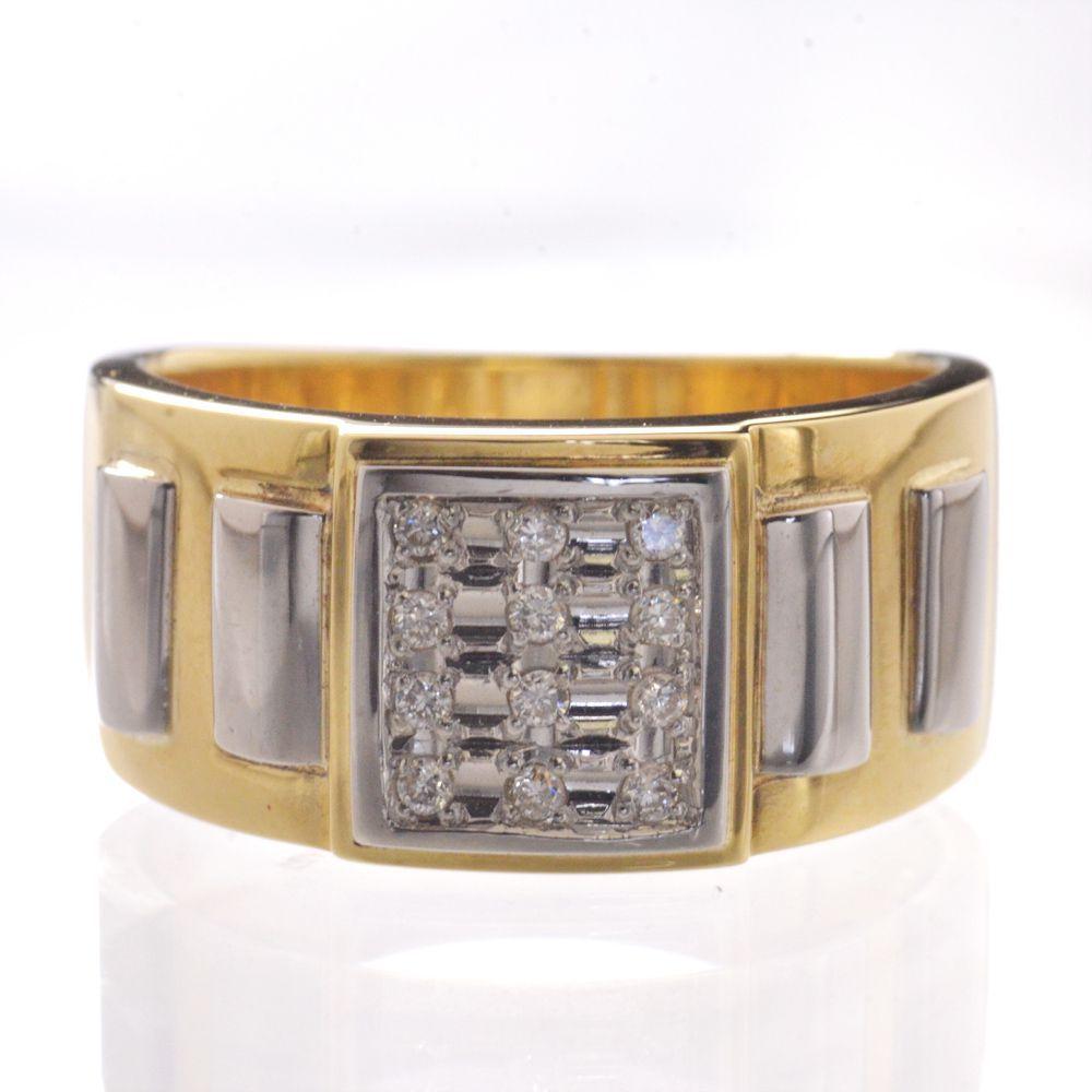 メンズリング 18金 K18 プラチナ ダイヤモンド 指輪 男性用