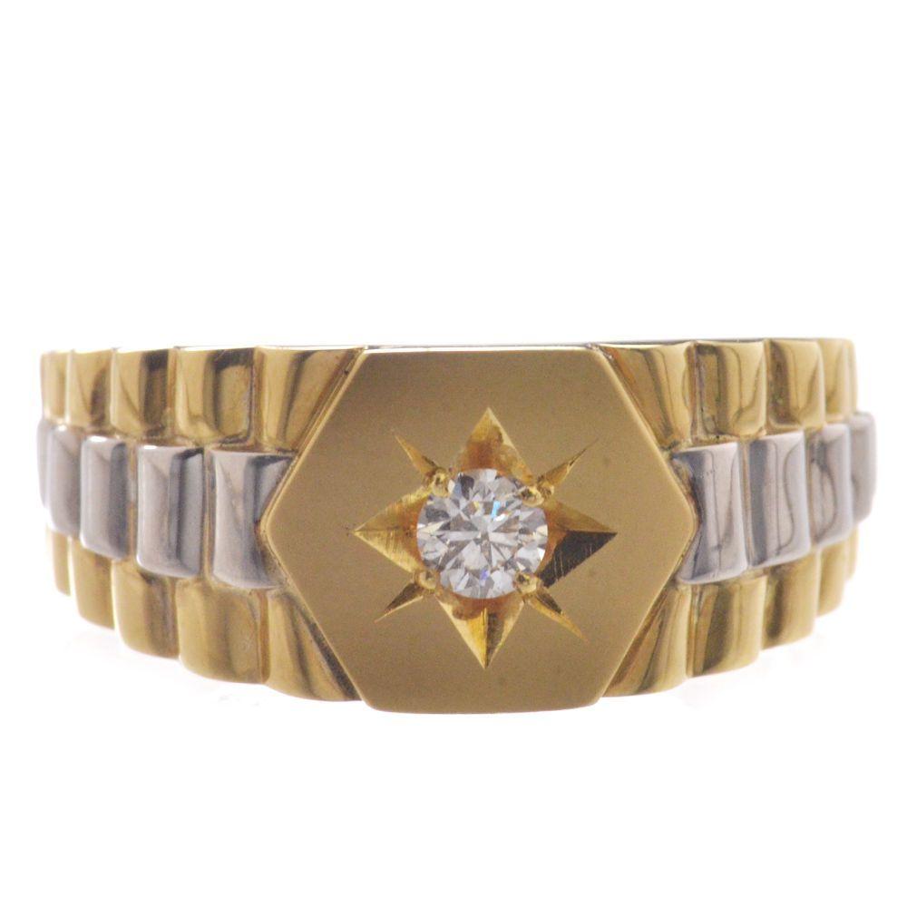 印台 メンズリング 18金 K18 プラチナ ダイヤモンド 指輪 男性用