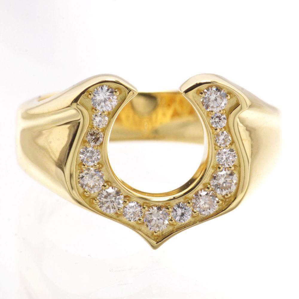 メンズリング 18金 K18 馬蹄 ダイヤモンド 指輪 男性用