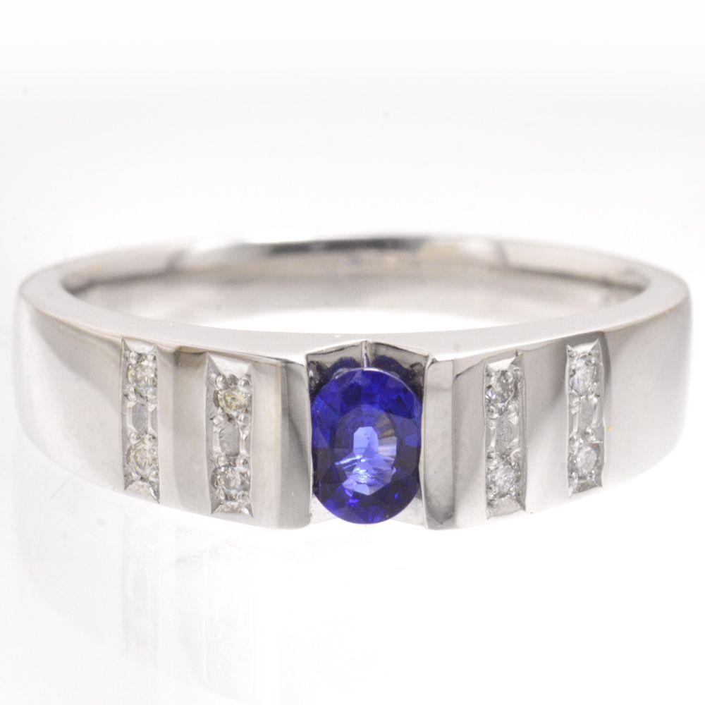 メンズリング プラチナ サファイア ダイヤモンド 指輪 男性用