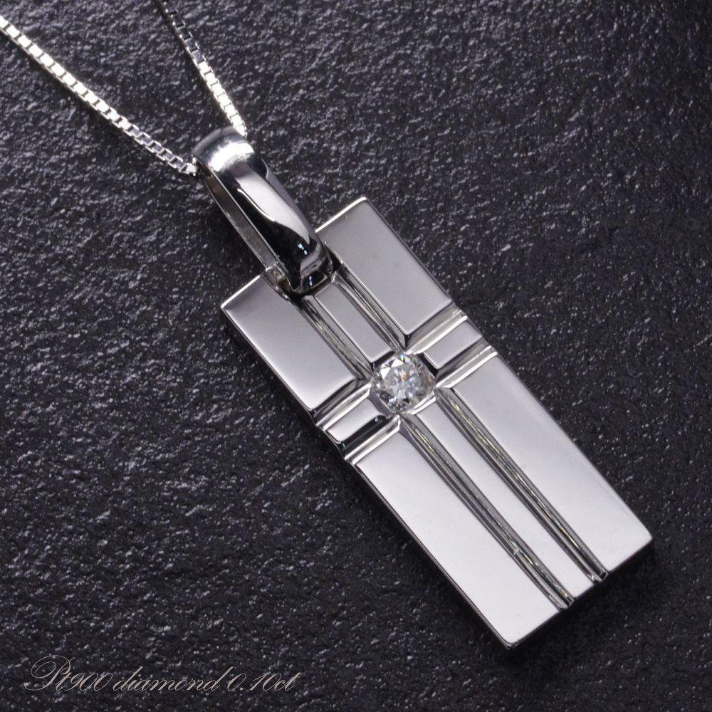 メンズネックレス プラチナ クロス ダイヤモンド 男性用