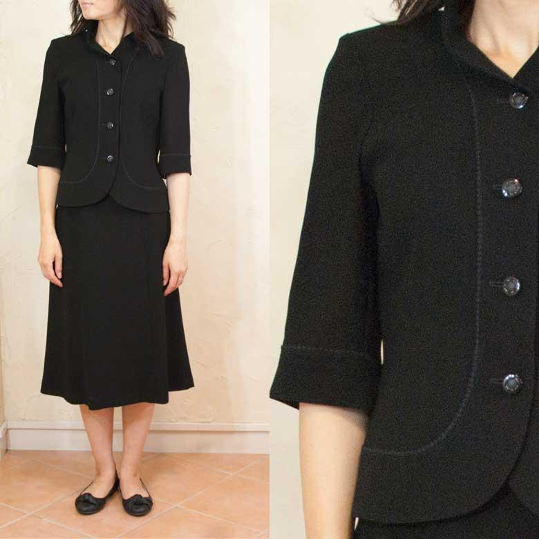 サマーブラッククフオーマルバッグセットスタンドカラースーツなつよう 日本製