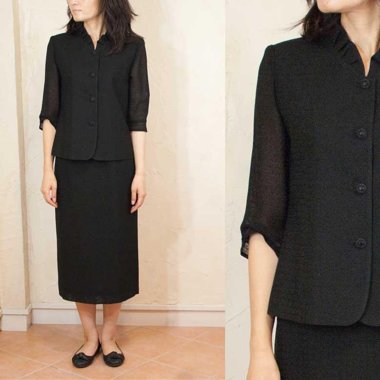 サマーブラッククフオーマルバッグセットなつもの米沢織スーツ 日本製 5052