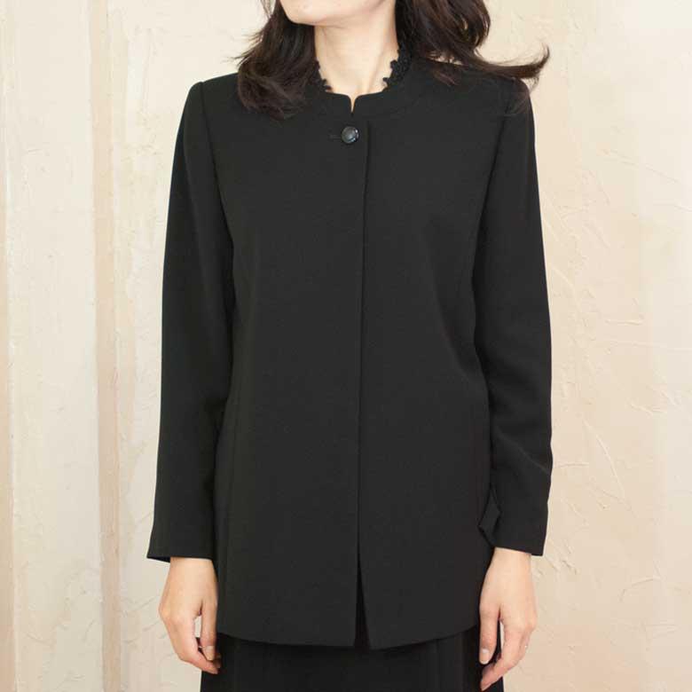 ブラックフォーマル衿なし単品ジャケット日本製 7720