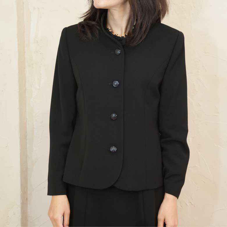 ブラッククフオーマル喪服バッグセットフラワー衿単品ジャケット日本製