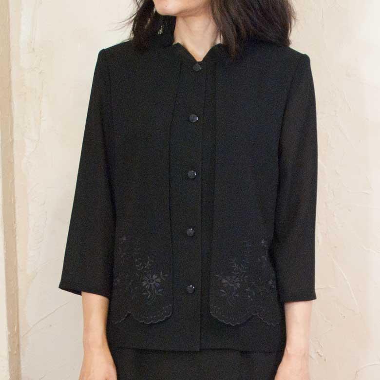 日本製 繊維の町岐阜の熟練の職人達の丁寧なものづくり サマーブラッククフオーマル喪服バッグセット夏用重ね着風オーバーヨークブラウス 日本製