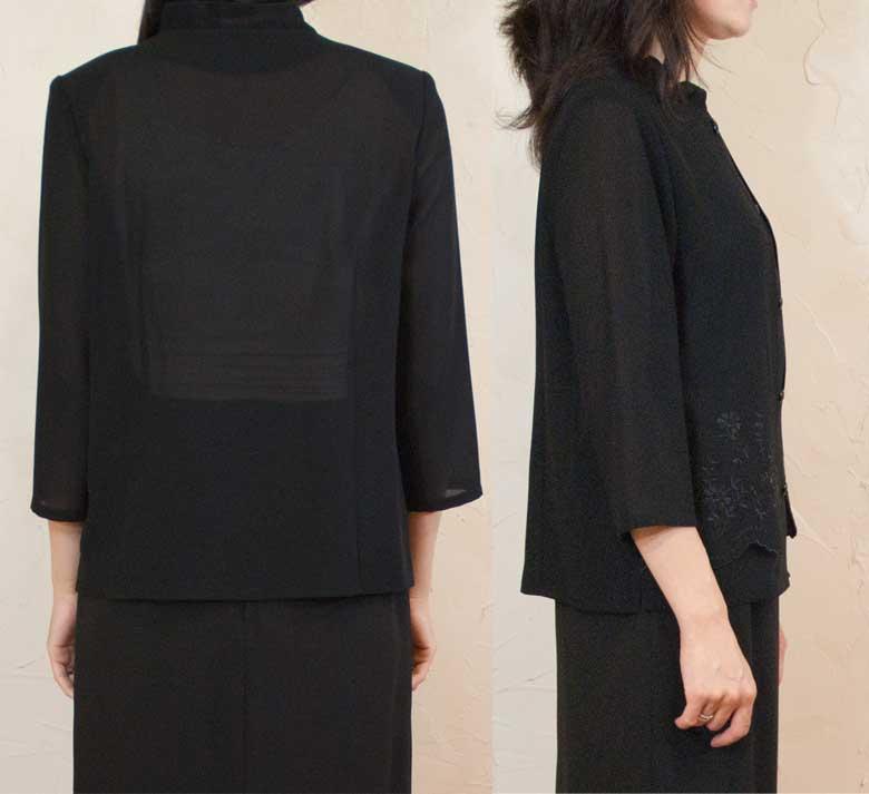 Summer black formal for summer layering style yoke blouse Japan-8025 electric car