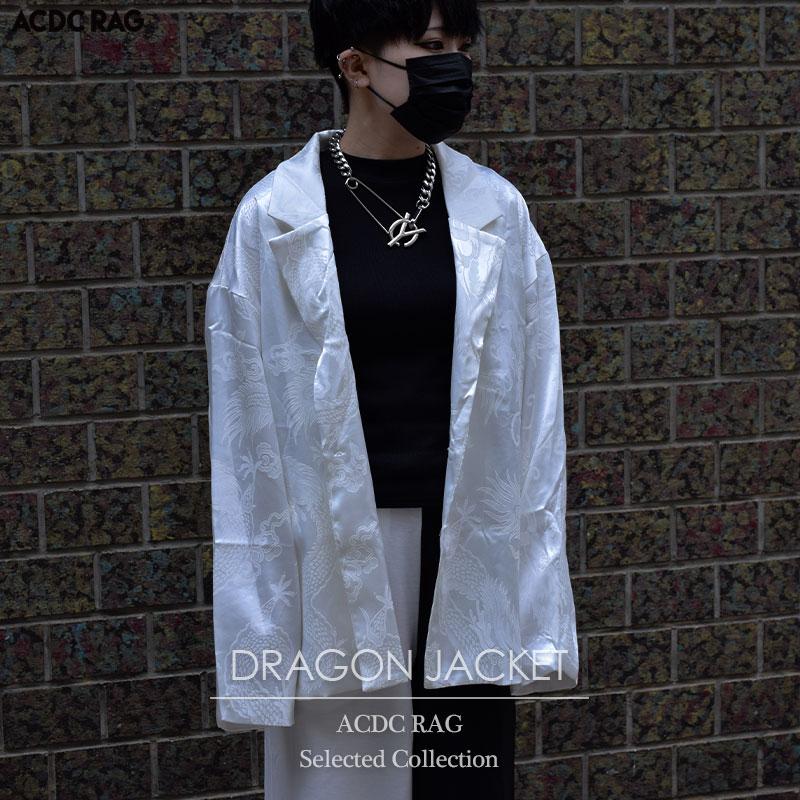 ACDC RAGバイイングのセレクトアイテム 韓国 韓国系 ファッション 原宿 原宿系 レディース チャイナ 服 セールSALE%OFF 秀逸 サテン リュウジャケット 総柄 かわいい RAG テーラードジャケット 大きいサイズ オーバーサイズ ストリート 派手