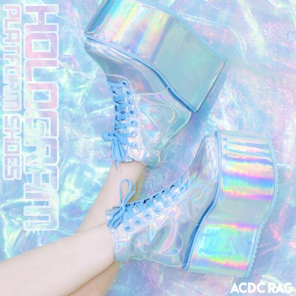 ホログラムプラットフォームシューズ 厚底 ブーツ スニーカー 靴 ハイカット ラバーソール ラバソ 原宿系 ファッション かわいい デコラ レディース メンズ 派手 かわいい 個性的 衣装 ファンシー メタリック サイバー シルバー ACDC RAG