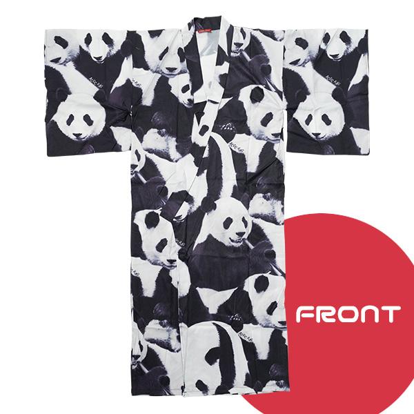 Panda kimono | It is polyester ACDC RAG in spring and summer in the panda  yukata kimono showy black black ground best gown haori coat men gap Dis