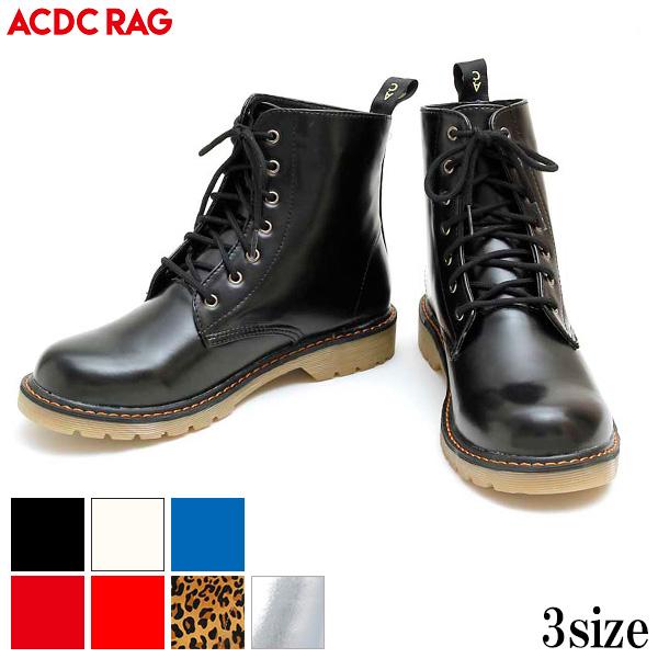 PUブーツ 原宿系 ファッション ブーツ マーチン風 マーチン パンク ロック ブーツ 黒 白 赤 青 派手 シルバー 個性的 派手 かわいい 衣装 靴 レディース ACDC ACDCRAG