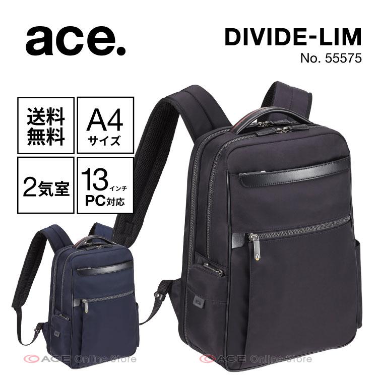リュックサック メンズ ビジネス エース ジーン レーベル ace. ディバイドリム 11リットル 2気室/A4サイズ 13インチPC対応 バックパック 55575