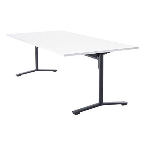 【組立無料】 コクヨ ミーティングテーブル DAYS OFFICE flip top XY-TFT211FE6AMCW 幅210×奥行100cm 天板グレインドホワイト/脚ブラック