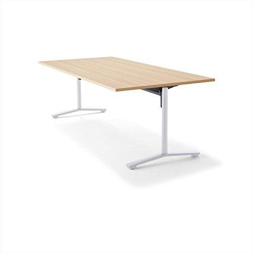 【組立無料】 コクヨ ミーティングテーブル DAYS OFFICE flip top XY-TFT211FSAAMC1 幅210×奥行100cm 天板グレインドナチュラル/脚ホワイト