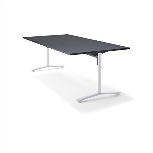 【組立無料】 コクヨ ミーティングテーブル DAYS OFFICE flip top XY-TFT211FSAAMCB 幅210×奥行100cm 天板グレインドブラック/脚ホワイト