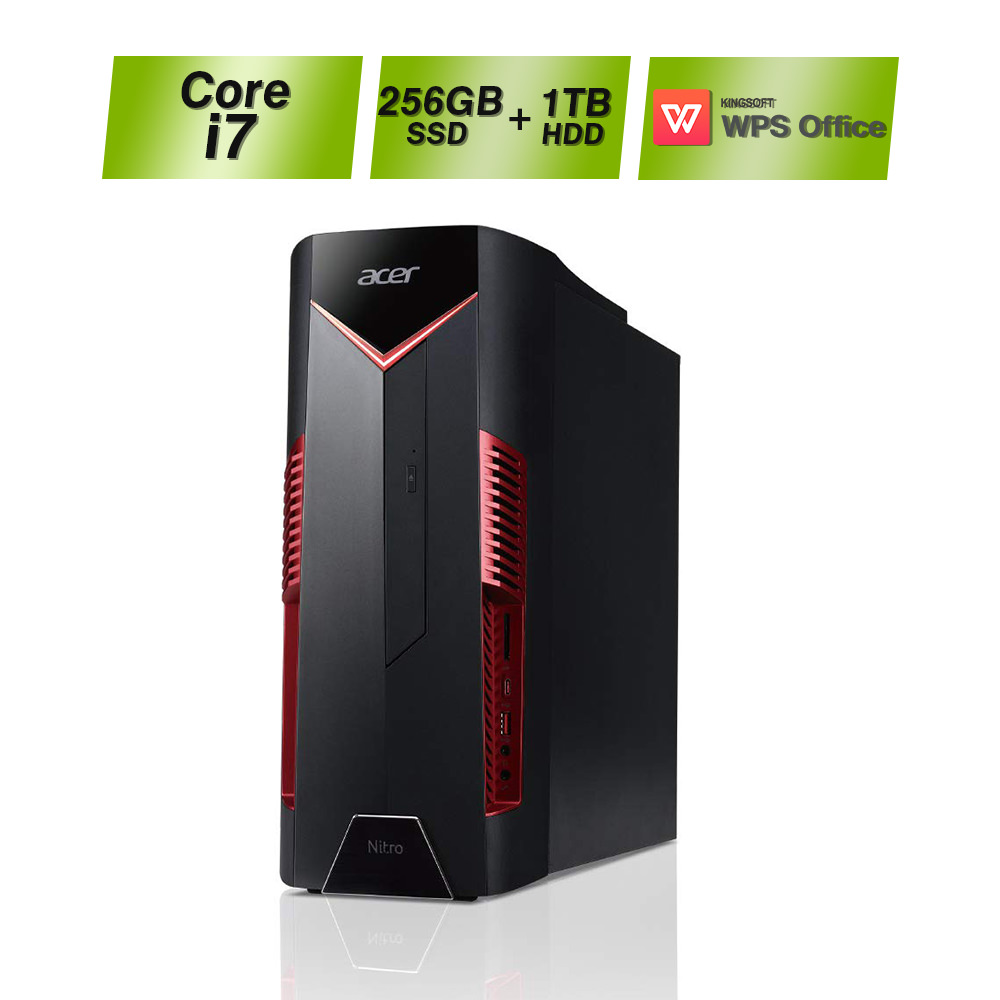 【パワフルな処理性能でストレスフリーなゲーム体験を!】Acer エイサー ゲーミングデスクトップ Nitro N50-600-N78V/G66TA Core i7 8GB 256GB SSD+1TB HDD GeForce GTX 1660Ti Windows10 デスクトップ パソコン ドライブ搭載 WPS Office ゲーミングデスク ゲーミングPC 新品